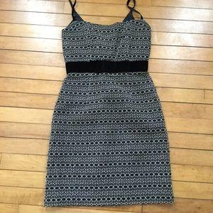 Milly Mesh Embroidered Sheath Dress Velvet Bow 0